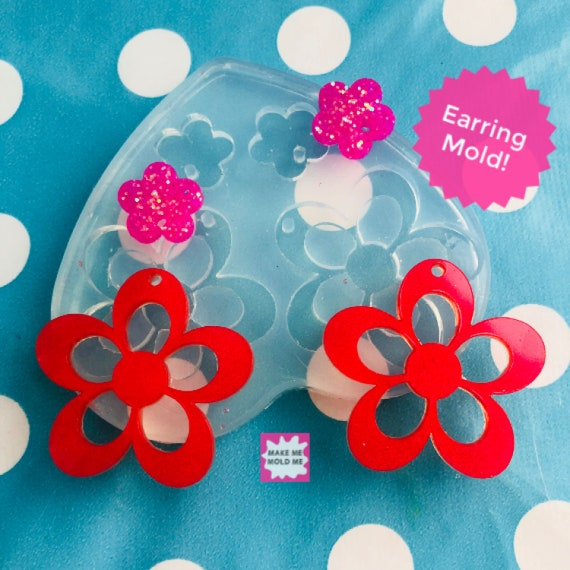 35mm Flat Flower Silicone Dangle Earring Mold EM301