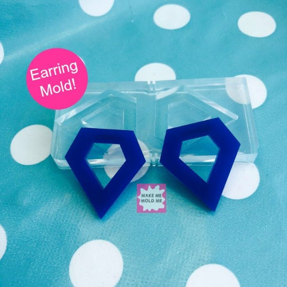 25mm Silicone Stud Earring Diamond Rock  Mold  EM66