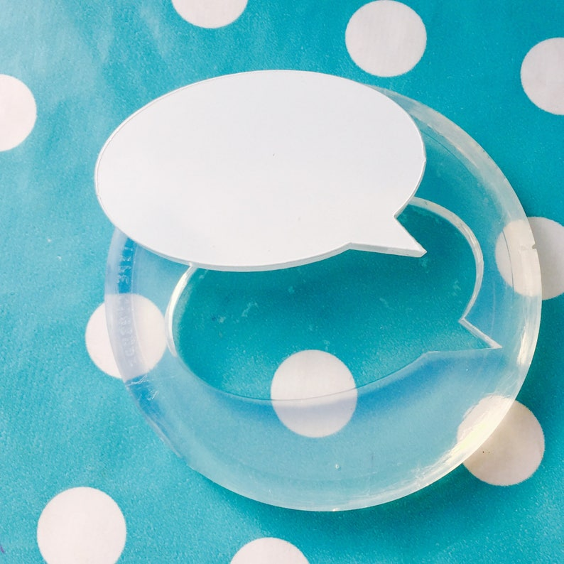 Brooch Word Mould Resin Pendant Crafter GM36 60mm Flat Speech Bubble Silicone Mold