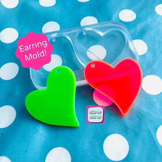 XL 40mm Silicone Heart Dangle Mold EM356