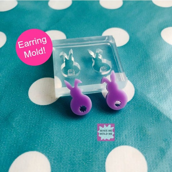 17mm Silicone Rabbit Bunny Earring Mold EM59