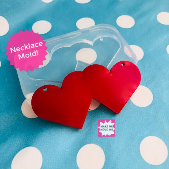 Silicone Double Heart Necklace Mold PM37