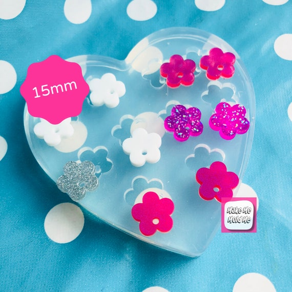 Silicone Earring 15mm Flower Charm Earring Top Mold EM342