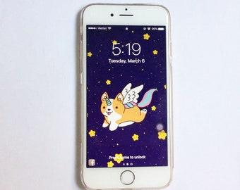 Unicorn Corgi IPhone Wallpaper Cell Phone Background Mobile Cute