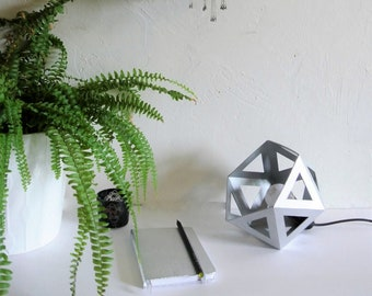 Small silver chrome Origami lamp - Leewalia - bedside lamp - booster lamp - design lamp - graphic lamp - geometric lamp