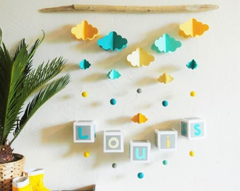 Mobile mural NUAGES blue and yellow to customize - Leewalia - baby child bedroom - driftwood - birth - wall decoration