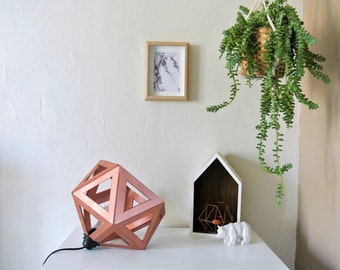 Large Origami lamp copper