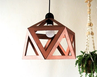 Suspension chandelier Origami copper rose gold - Leewalia - ceiling - design lamp - lighting - interior decoration - room lamp - living room