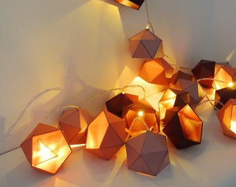 Shades of pink, coral and copper Origami string light