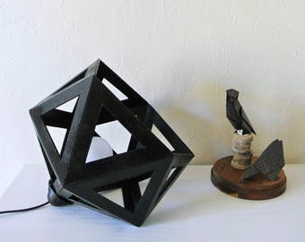 Large black Origami lamp - Leewalia - design lamp - booster lamp - reader - cardboard lamp - graphic lamp
