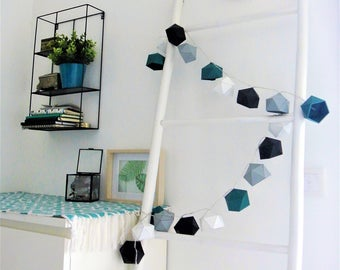 Teal, grey, black and white Origami string light
