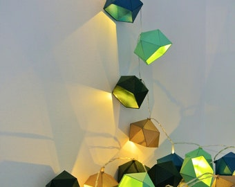 Shades of blue, green and gold Origami string light