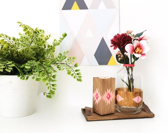 Candlestick and vase Bohemian patterns, shades of pink
