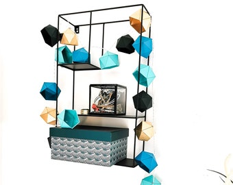 Light wreath Origami BLOR - Leewalia - LED garland - ambient light - interior decoration - duck blue - mint blue