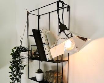 GRAMO chrome silver walking lamp - Leewalia - bedside lamp - booster lamp - designer lamp - reader - metallic lamp - wood board