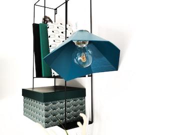 GRAMO duck blue walking lamp - Leewalia - bedside lamp - booster lamp - designer lamp - reader - metallic lamp - wood board