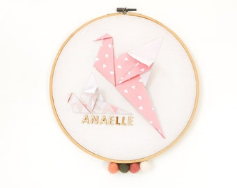 Pink and beige OISEAL drum - Leewalia - baby child bedroom decoration - wall decoration - first name to personalize - birth - origami