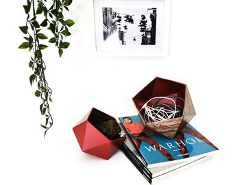 Rustic and burgundy wood origami boxes - Leewalia - empty pocket - baskets - storage - cardboard boxes - wooden boxes - jewelry boxes