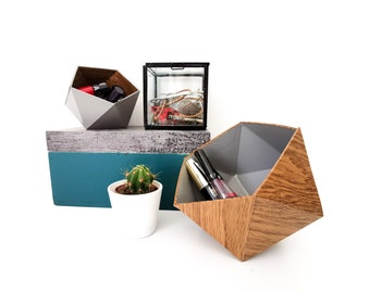 Oak and grey wood origami boxes - Leewalia - empty pocket - baskets - storage - cardboard boxes - wooden boxes - jewelry boxes
