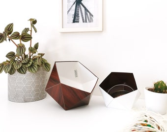 Mahogany and white wood origami boxes - Leewalia - empty pocket - baskets - storage - cardboard boxes - wooden boxes - jewelry boxes