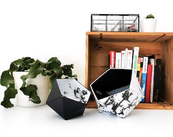 White and black marble origami boxes - Leewalia - empty pocket - baskets - storage - cardboard boxes - wooden boxes - jewelry boxes