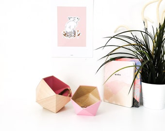 Origami boxes wood maple and pink - Leewalia - empty pocket - baskets - storage - cardboard boxes - wooden boxes - jewelry boxes