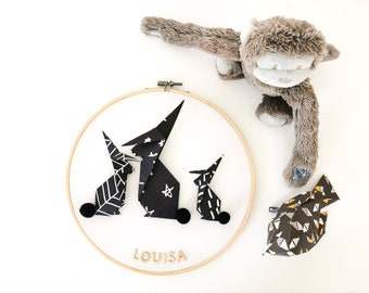 Drum LAPINS black and white - Leewalia - decoration room baby child - wall decoration - first name to personalize - birth - origami