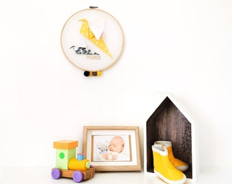 Yellow and grey OISEAUX drum - Leewalia - baby child bedroom decoration - wall decoration - first name to personalize - birth - origami