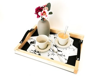 aperitif tray with built-in glasses MARBRE - Leewalia - tableware - serving tray - interior decoration - design object