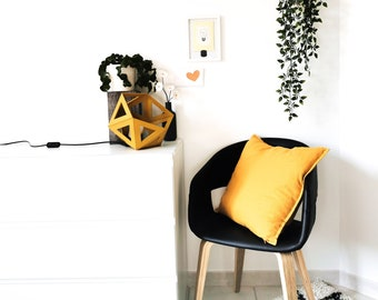 Large mustard yellow Origami lamp - Leewalia - design lamp - booster lamp - reader - cardboard lamp - graphic lamp