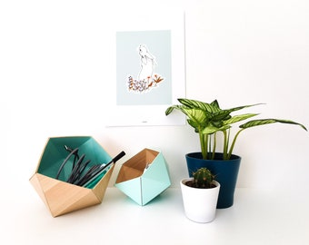 light wood origami boxes and mint blue