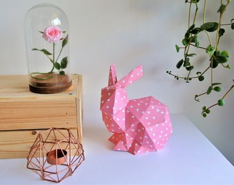 Decorative pink Origami rabbit boy