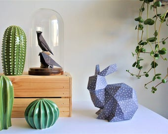 Grey Origami rabbit for baby nursery