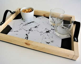 appetizer tray with slot glasses embedded marble