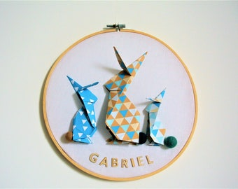 drum rabbit origami, personalize, baby room decoration