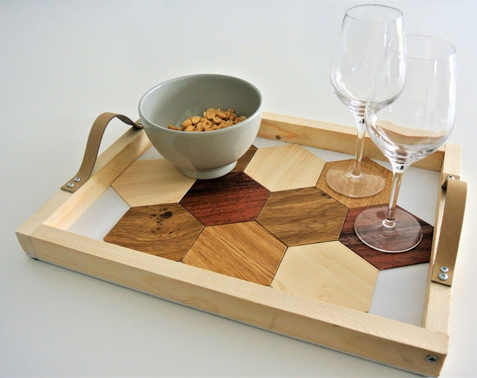 Featured listing image: appetizer tray with slot glasses included wood