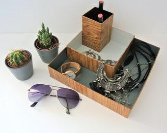 "set of three boxes ""organizer"", shades of gray"