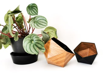 Origami boxes wood oak and black - Leewalia - empty pocket - baskets - storage - cardboard boxes - wooden boxes - jewelry boxes