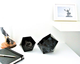 black marble and black origami boxes matte