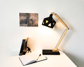 Wood and black origami office lamp - Leewalia - lighting - design lamp - working lamp - interior decoration - Scandinavian