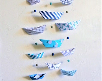 Mobile BATEAUX blue and grey wall - Leewalia - interior decoration - baby child's bedroom - origami folding - birth - wall decoration