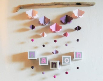 Mobile mural NUAGES pink and violin to customize - Leewalia - baby child bedroom - driftwood - birth - wall decoration