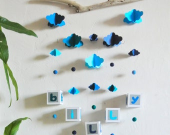 Mobile mural NUAGES blue cameo to customize - Leewalia - baby child bedroom - driftwood - birth - wall decoration