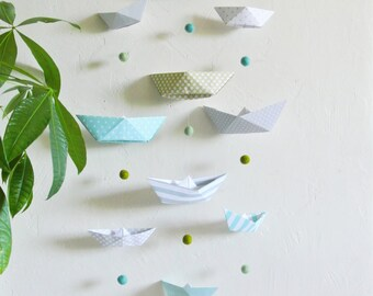 """Mobile for babies / children """"boats"""" blue and pastel green"""