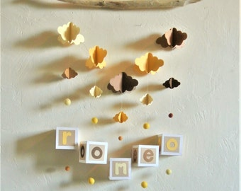 Mobile wall NUAGES yellow, beige and brown to customize - Leewalia - baby child bedroom - driftwood - birth - wall decoration