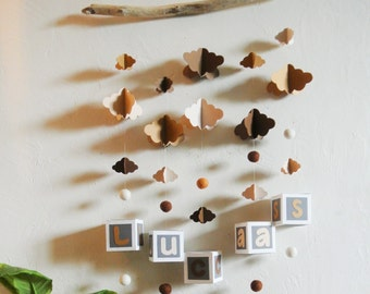 Mobile mural NUAGES cameo of brown, beige to customize - Leewalia - baby child bedroom - driftwood - birth - wall decoration