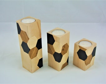 set of three candle holders made of wood, hexagons, Scandinavian