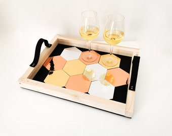 Aperitif tray with integrated glass METALLIC - Leewalia - tableware - tray - interior decoration - design object