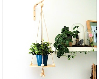 Hanging shelf shelf ÉRABLE - Leewalia - wall shelf - macramé - table - interior decoration - small furniture