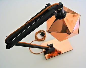 copper and black origami desk lamp